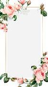 Pink cabbage rose pattern on a gold frame design element