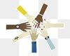 Group of diverse hands paper craft design sticker