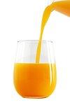 Pouring fresh organic orange juice to a glass design element