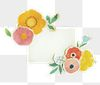 Paper note mockup with paper craft flowers