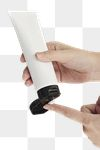Woman squeezing cream from an unlabeled tube design element