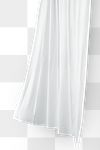 White drapery hanging from a curtain rod design element