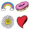 Cool pop art sticker design element set