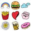 Cool pop art sticker with a white border design element set