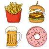 Food and beverage sticker set design element