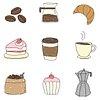 Coffee doodle sticker design element set