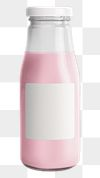 Fresh strawberry milk in a glass bottle with a label mockup