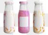 Flavorful milk tea blend in a glass bottle with a label mockup design resources