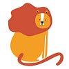 Lion png animal sticker orange doodle cartoon for kids