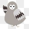 Owl png diary sticker gray cute wild animal illustration for kids