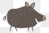 Wild boar png animal sticker doodle cartoon for kids
