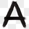 Letter A png brush stroke typography