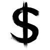 Dollar symbol png grunge brush stroke typography