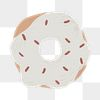 White sprinkle donut element png cute hand drawn style