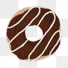 Chocolate frosted donut element png cute hand drawn style