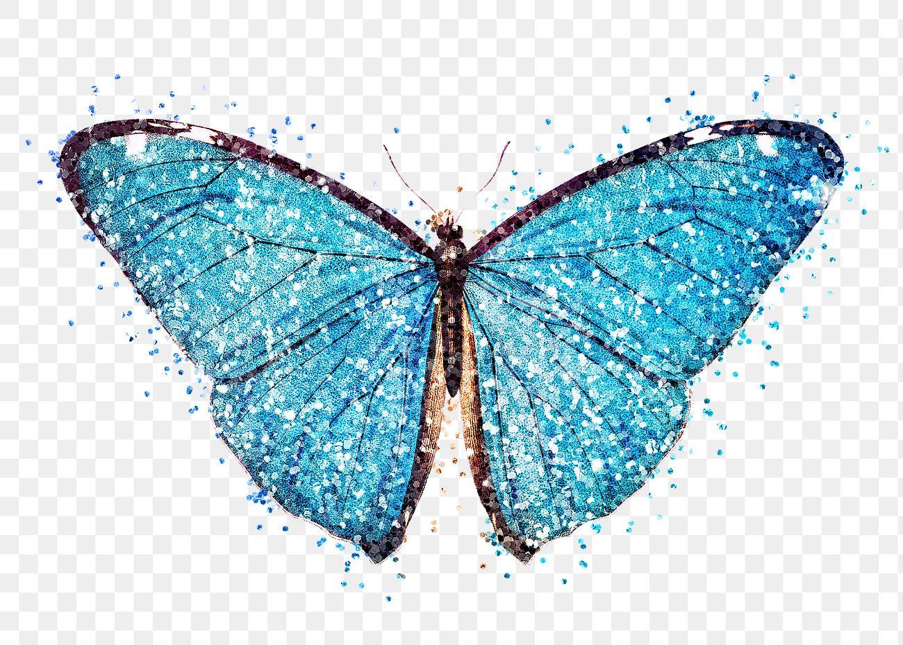 Glitter blue butterfly design element | Free transparent ...