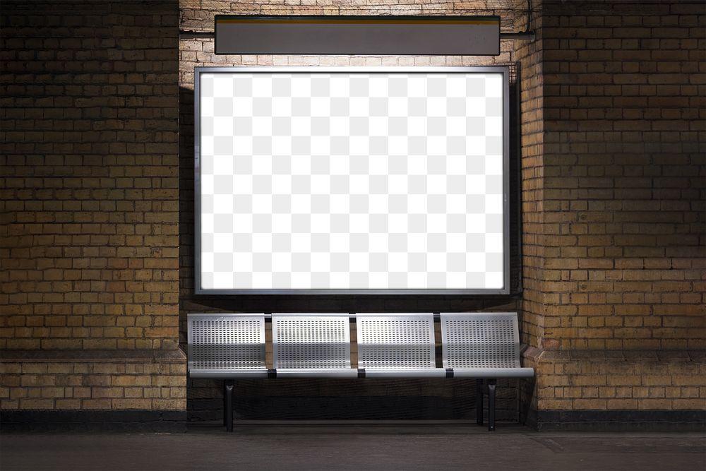 Blank billboard mockup in subway transparent png