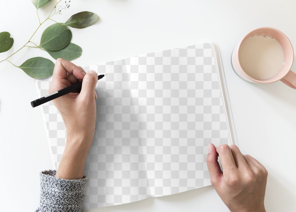 Blank png notebook page mockup