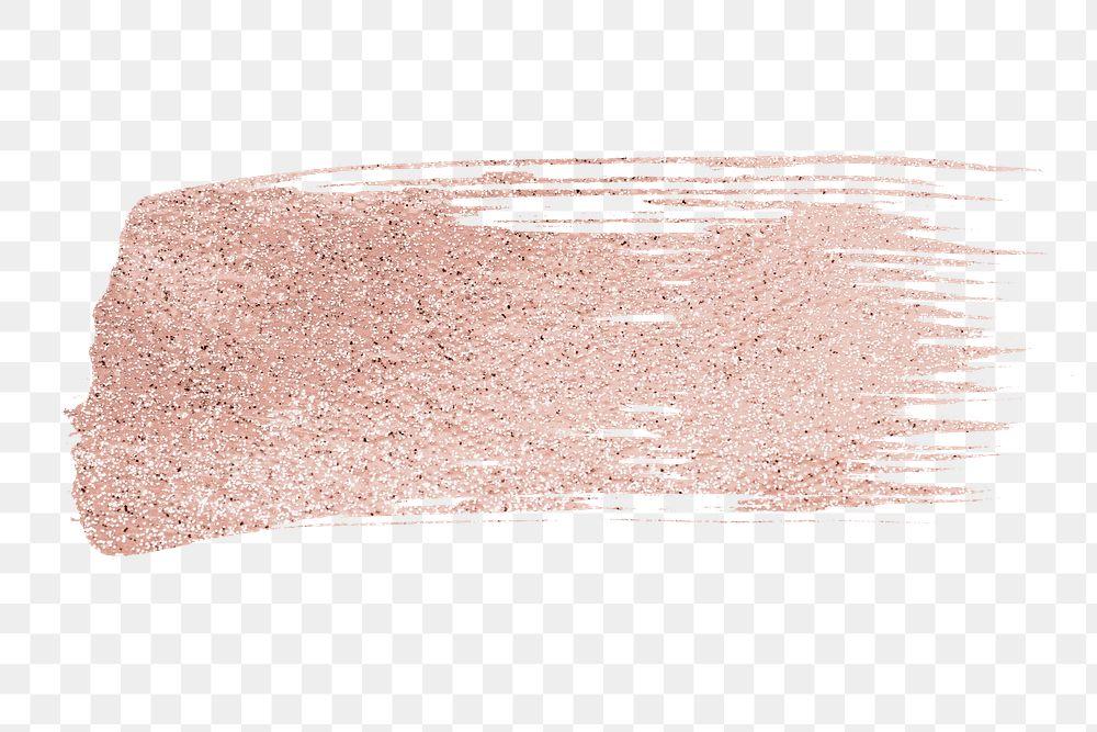 Metallic rose gold pink glitter brush stroke