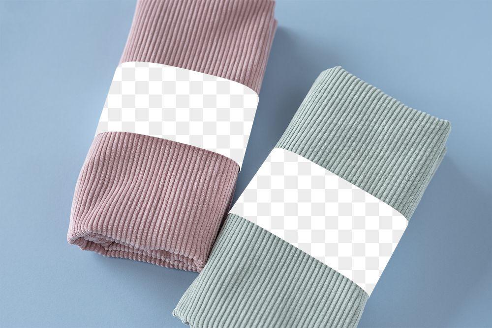 Handmade scarf brand label mockup transparent png