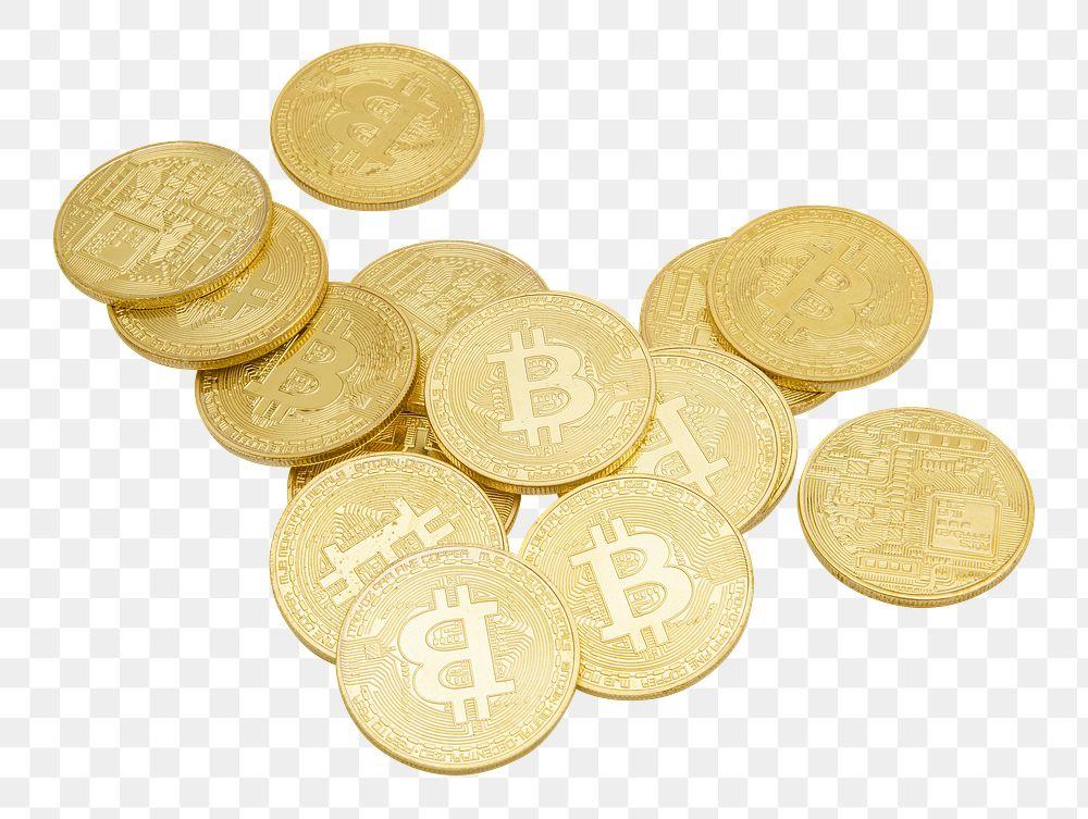 Golden bitcoins cryptocurrency design element