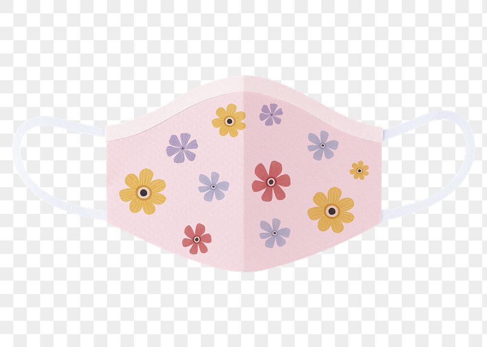 Floral paper craft surgical mask element transparent png