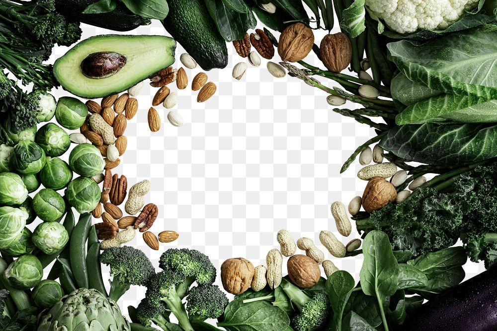 Green vegetable frame png transparent background