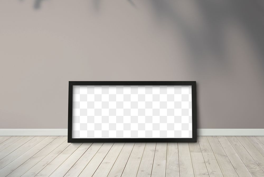 Black picture frame mockup against a brown wall