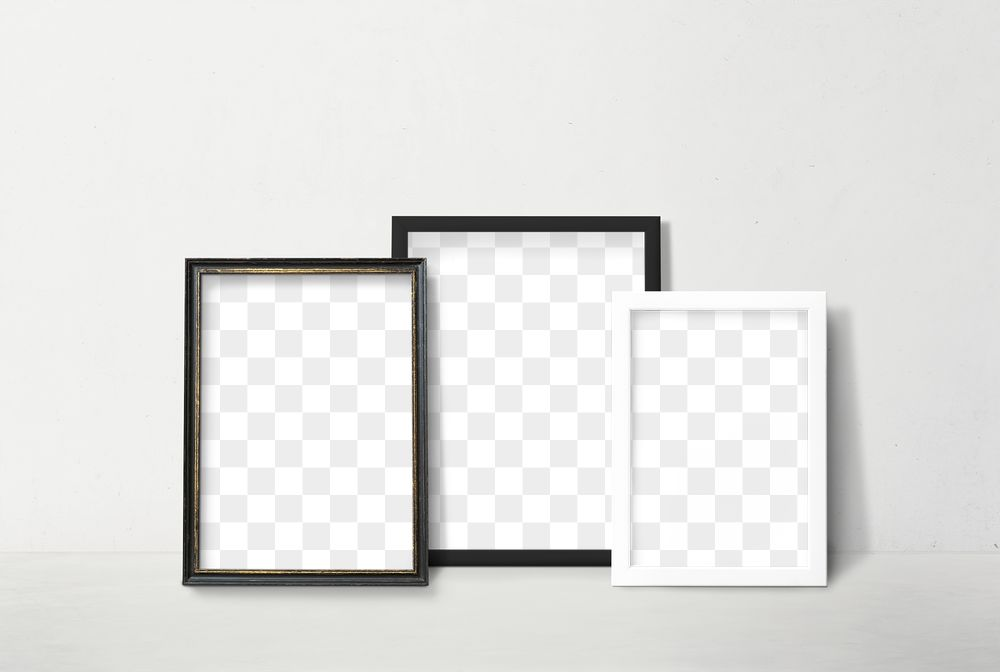 Black and white picture frame mockup leaning against a white wall