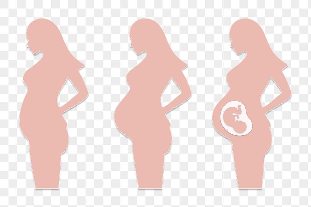 Paper craft pregnant woman character design element set