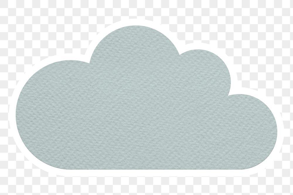 Blue textured paper cloud sticker design element