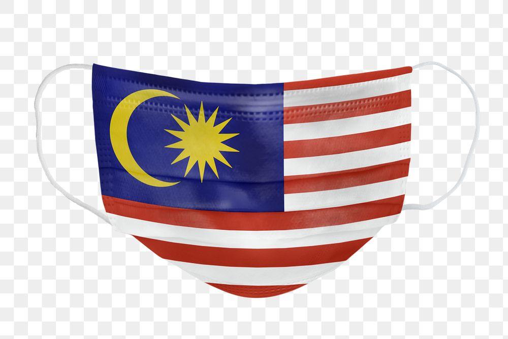 Malaysian flag pattern on a face mask mockup