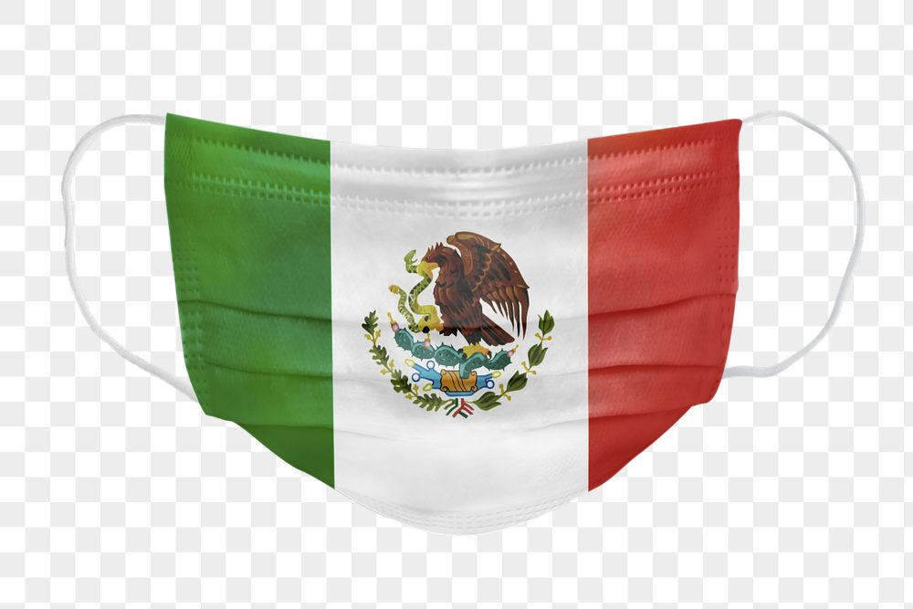 Mexican flag pattern on a face mask mockup