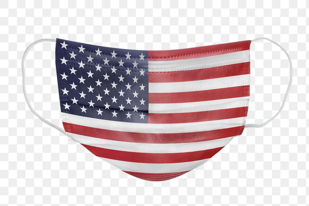 US flag pattern on a face mask mockup