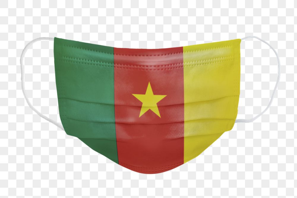 Cameroon flag pattern on a face mask mockup