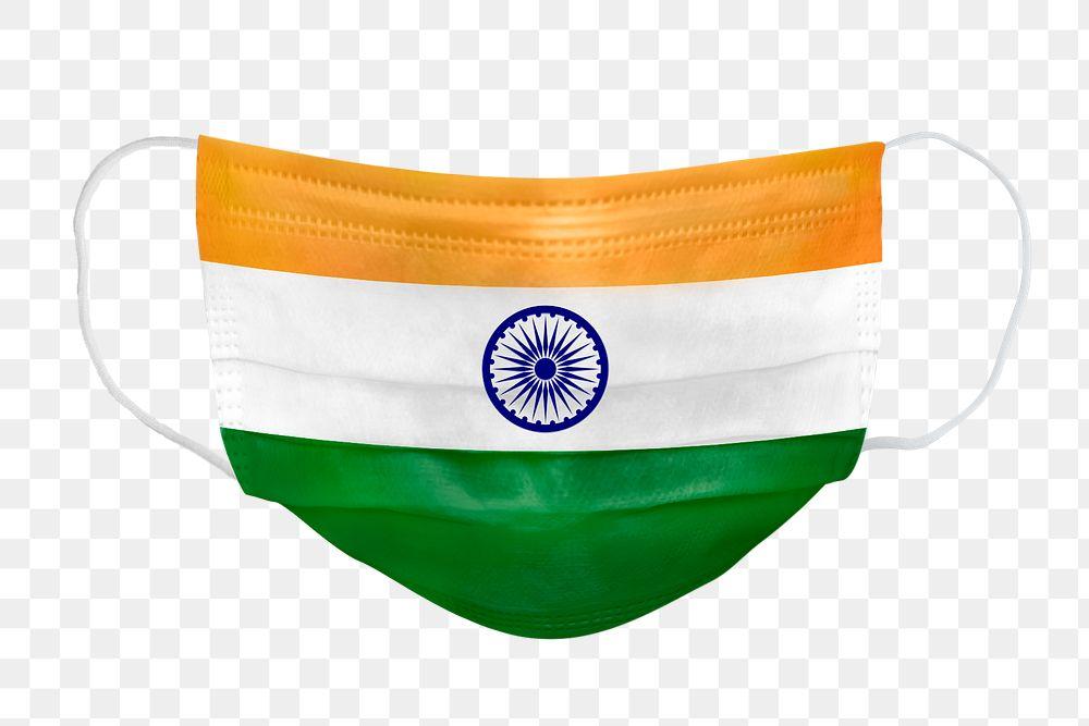Indian flag pattern on a face mask mockup