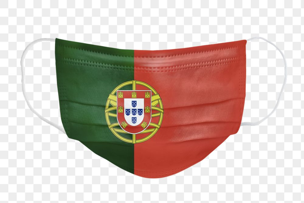 Portuguese flag pattern on a face mask mockup