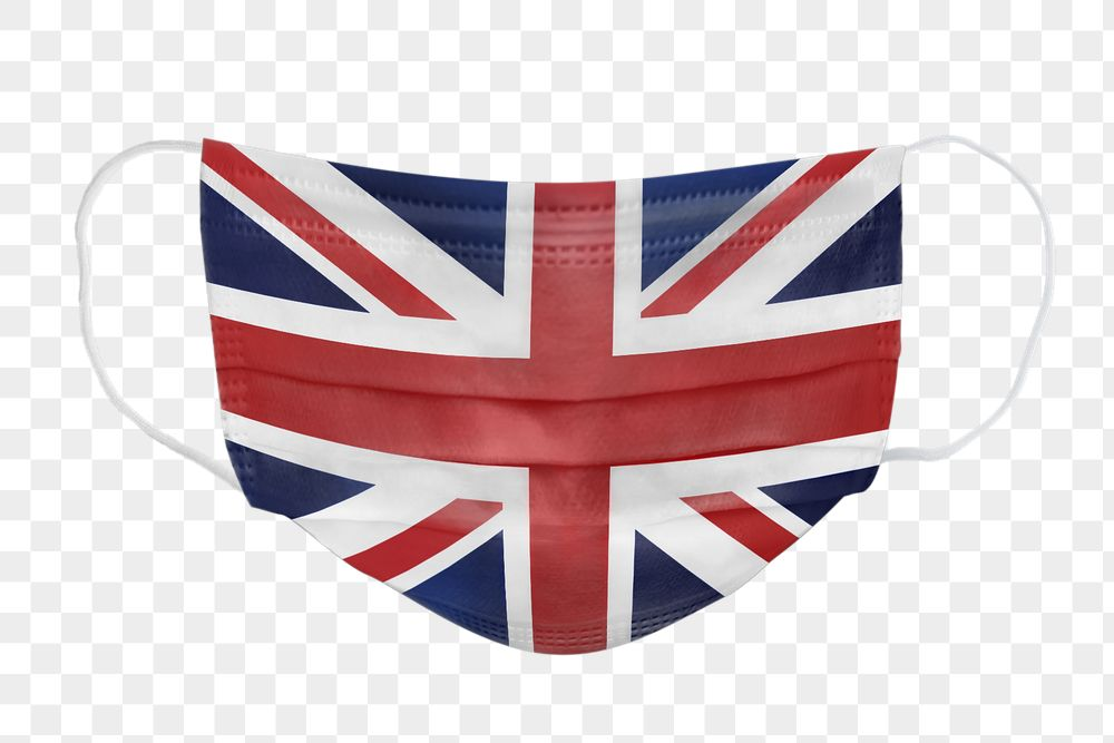 UK flag pattern on a face mask mockup
