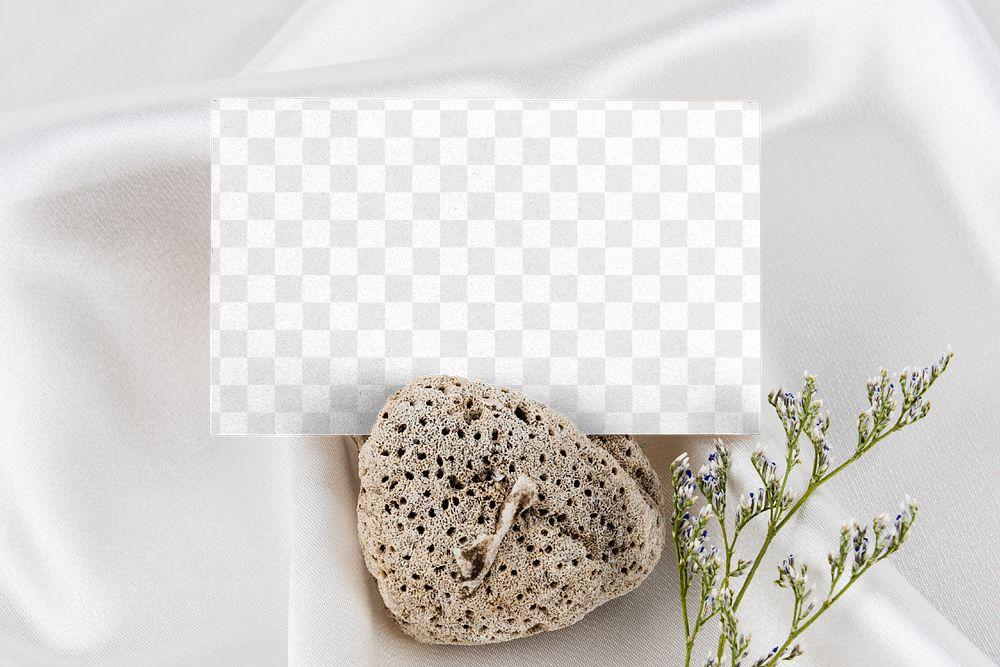 Card mockup on a porous rock flatlay