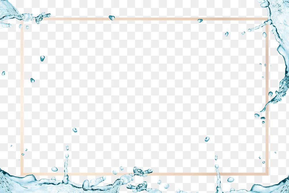 Water splashing golden frame design element