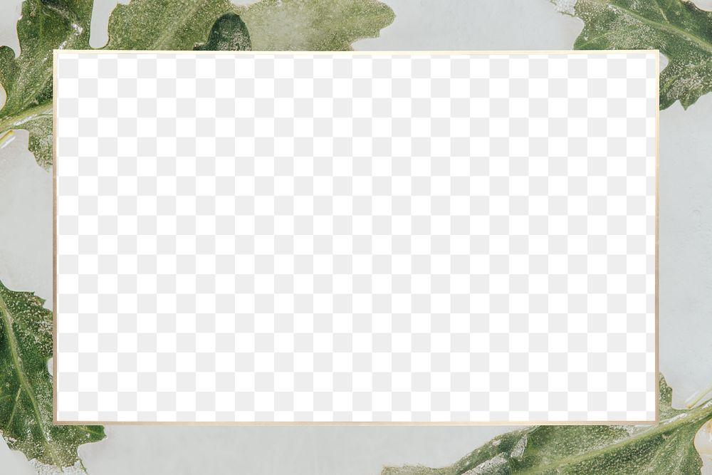 Chrysanthemum leaves frame png transparent background