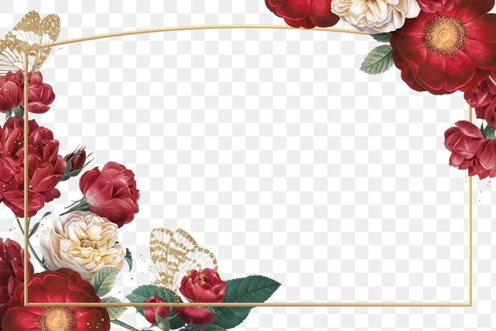 Elegant valentine's flowers png frame watercolor illustration