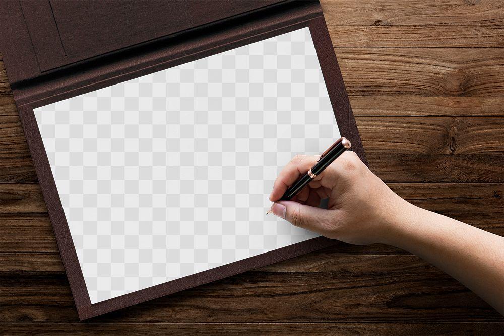 Certificate png mockup on a folder