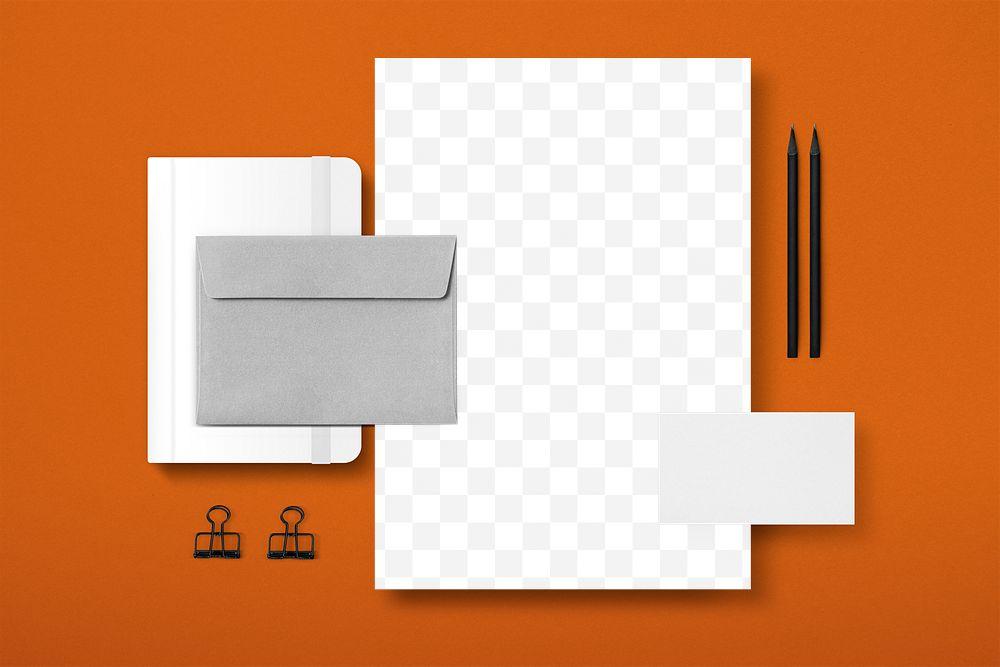 Corporate identity transparent mockup png set for business enterprise