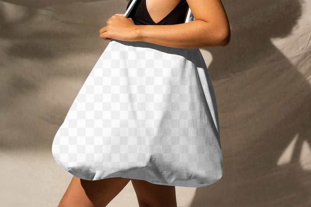 Png woman mockup carrying reusable white shopping bag