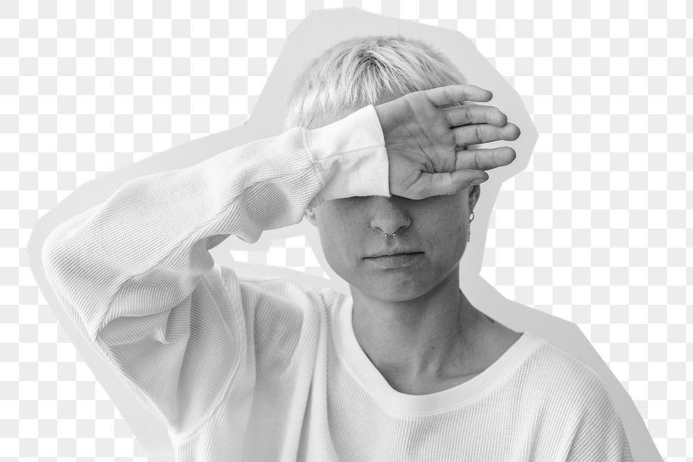 Sick woman having a headache