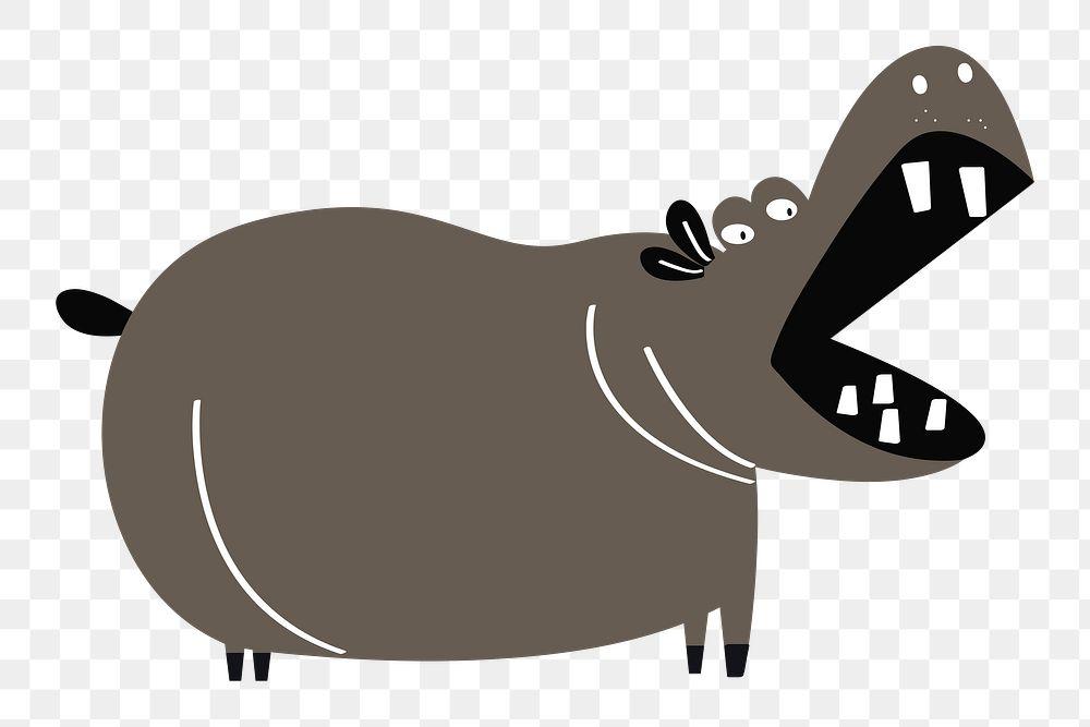 Hippopotamus png animal sticker doodle cartoon for kids