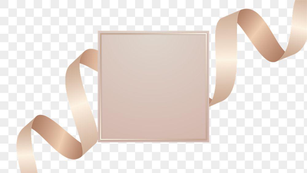 Black square frame with pink gold ribbon transparent png