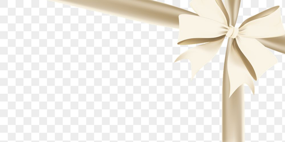 Gold Christmas ribbon element transparent png