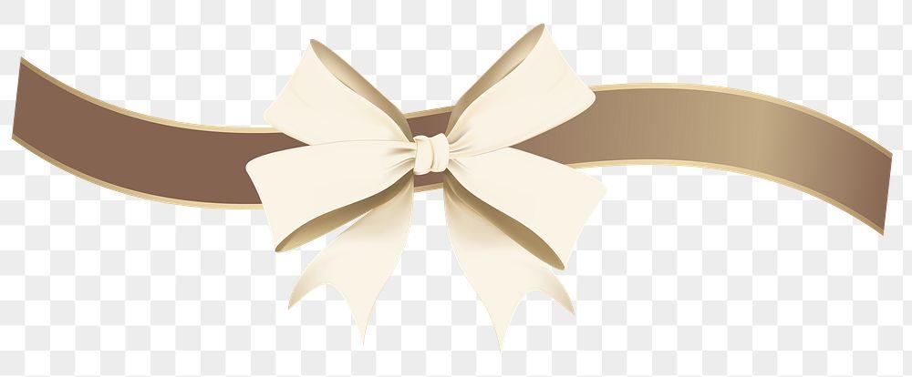 Gold ribbon bow element transparent png